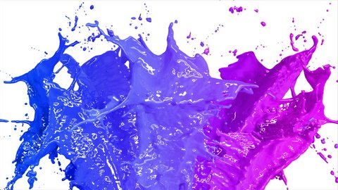Beautiful Blue and Pink Color Paint Splashes in Slow Motion and Freeze Motion, Alpha Mask. Useful for Titles and Intro. 3d Animation Art Design Concept. 4k UHD 3840x2160.