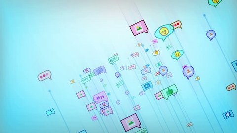 A cheerful 3d rendering of flying social network bubbles from colorful emoticons, quotation, marks, brackets, figurative, images and spots in the light blue background. Loopable.