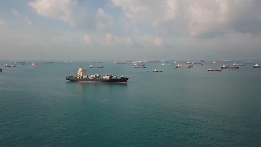 Aerial Shot Of Busy Shipping Traffic At Morning In The Straits Of Singapore