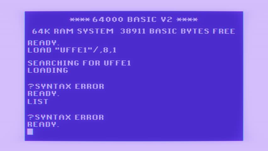 Vintage computer screen loads into syntax error glitch distortion  | Shutterstock HD Video #1010321075
