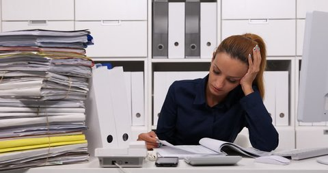 Tired Accountant Woman Have Concentration Issues at Office Read Files Documents