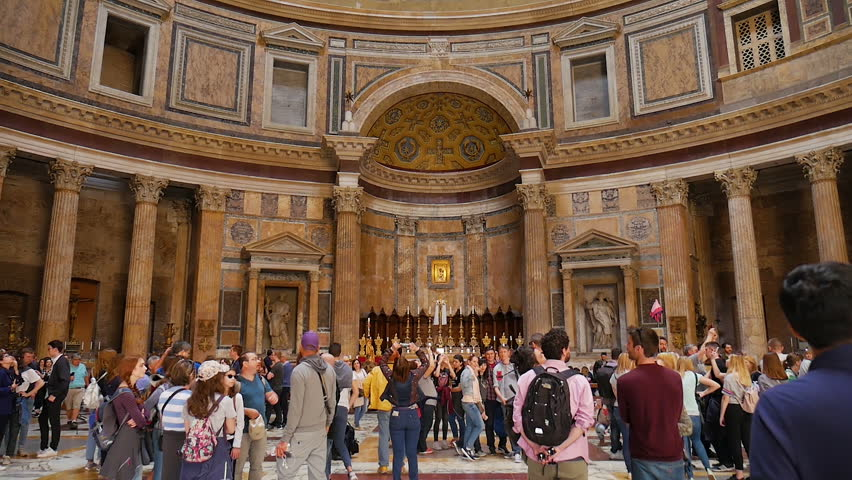 Rome, Italy 21.04.2018 Antique Pantheon church in Rome, famous touristic place