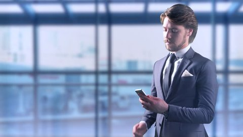 Traveling Airport Business Man Mobile Phone Businessman