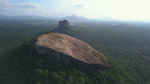 View of the Pidurangala rock and Sigiriya rock in Sri Lanka drone footage