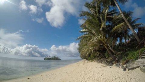 Landscape view of Rarotonga Island from Muri Lagoon in Rarotonga, Cook Islands.