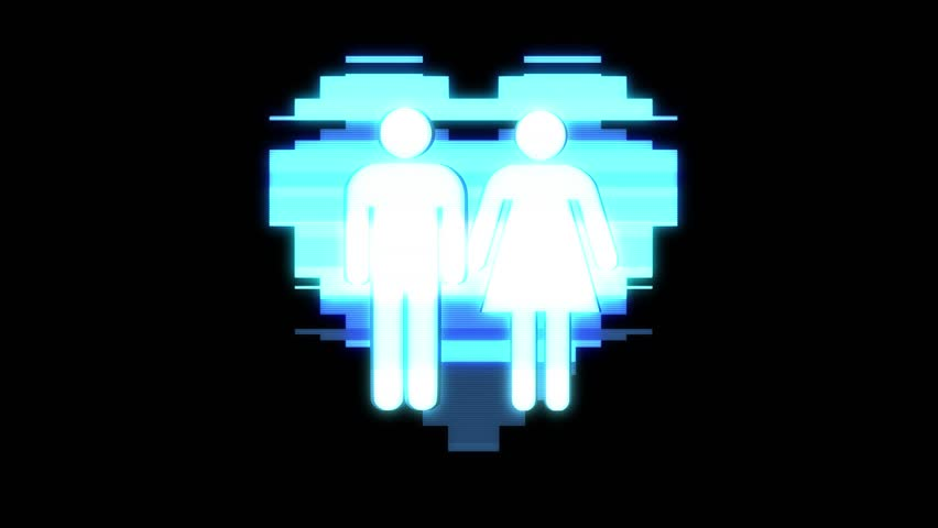 Simple Gay Couple Family Heart Symbol Glitch Screen Distortion