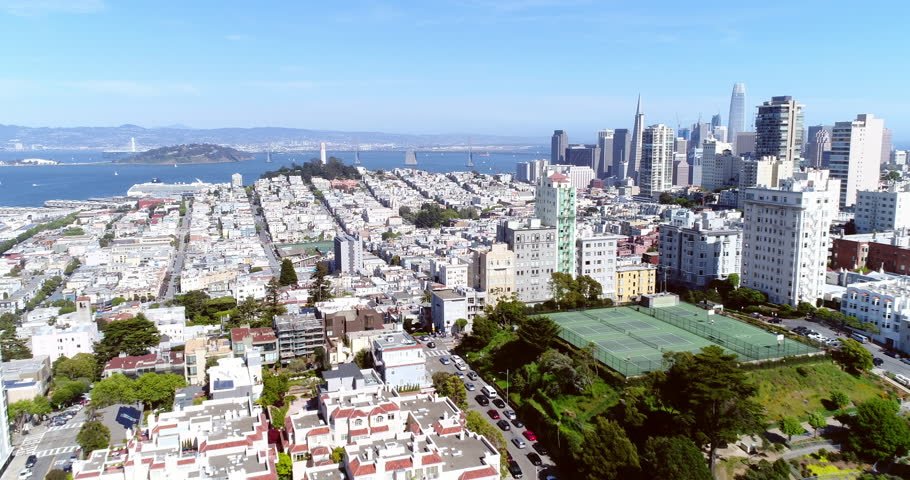 Aerial view of San Francisco city skyline on beautiful sunny day with blue sky | Shutterstock HD Video #1010441105