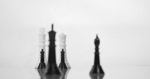 Chess surrender king knocked over