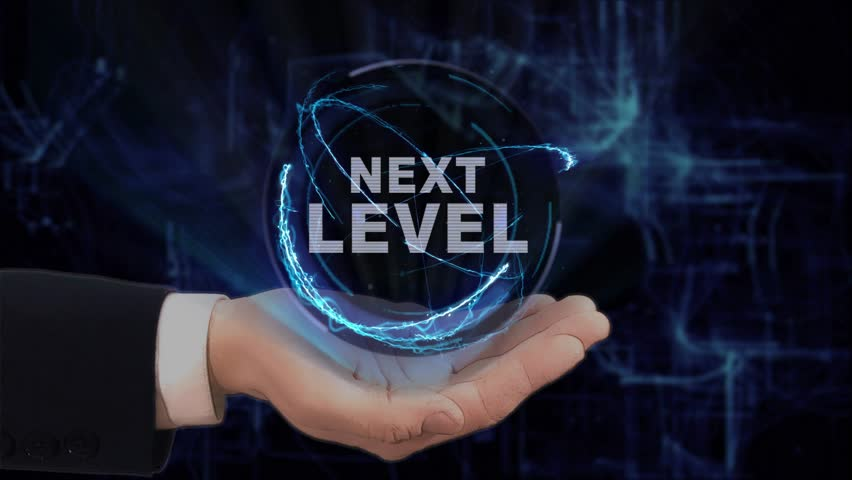 Painted hand shows concept hologram Next level on his hand. Drawn man in business suit with future technology screen and modern cosmic background