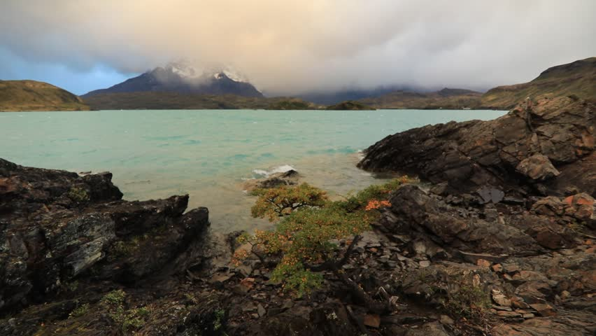 Lake Pehoe at dawn. Torres del Paine, Chile