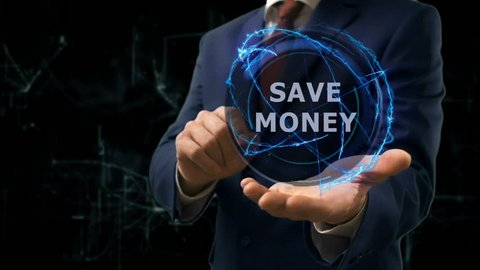 Businessman shows concept hologram Save money on his hand. Man in business suit with future technology screen and modern cosmic background