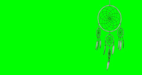 dreamcatcher on a green screen chroma key background 3d illustration render looped animation with alpha matte mask