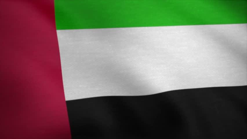 UAE Flag of Dubai, Abu Dhabi and the United Arab Emirates. UAE Close up waving flag. Seamless Looping Animation