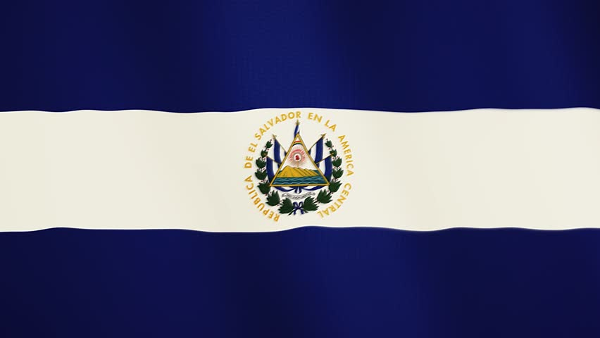 Salvador flag waving animation. Full Screen. Symbol of the country.