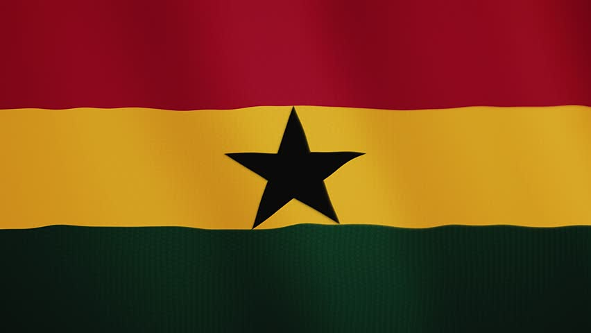 Ghana flag waving animation. Full Screen. Symbol of the country.