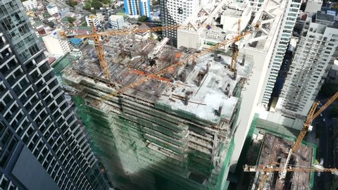 MANILA, PHILIPPINES - MARCH 01: View on construction site of a skyscraper on March 01, 2018 in Manila,Philippines.