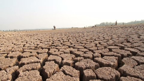 Water crisis, River dried cause Drought.  Climate change at Asia on summer season
