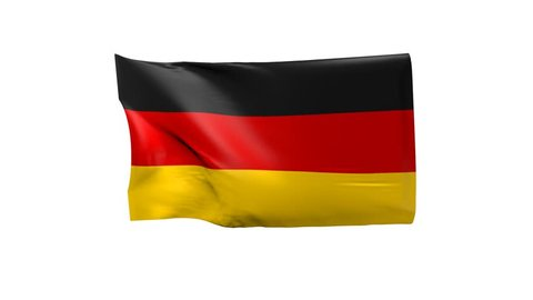 German flag waving on a white background, 3d animation
