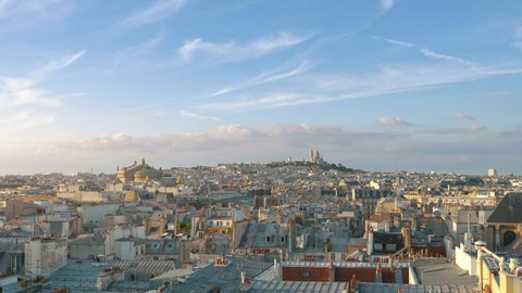 Professional video of aerial view on Sacre Coeur in Paris in 4k slow motion 120fps