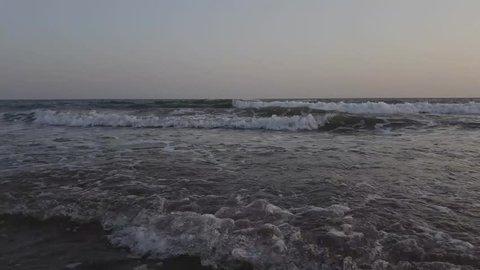 Beautiful beach scene at evening. Super scenic view of Mandavi Beach at evening time. Travel destination at Mandvi, Gujarat.