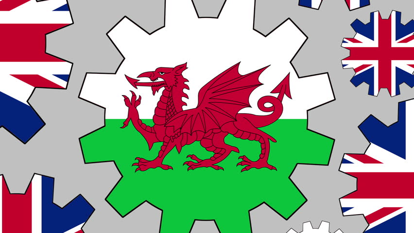 British and welsh flag gears rotating background zooming out
