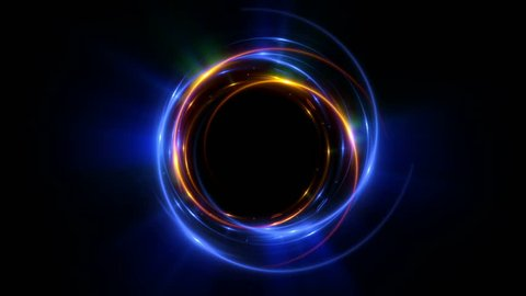 Abstract neon background. Shine ring. Halo around. Sparks particle.  Space tunnel. LED color ellipse. Glint glitter. Shimmer loop motion.  Empty hole. Glow portal. Astral ball. Slow spin. Bright disc.