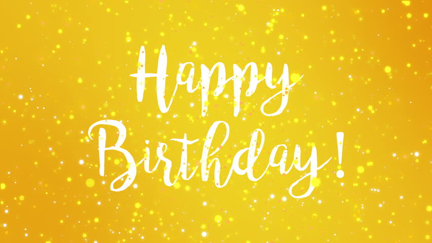 Happy birthday banner video page 3 stock footage sparkly yellow happy birthday greeting card video animation with handwritten text and falling colorful glitter particles m4hsunfo