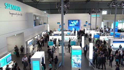 Hannover, Germany - April, 2018: Siemens stand on Messe fair in Hannover, Germany