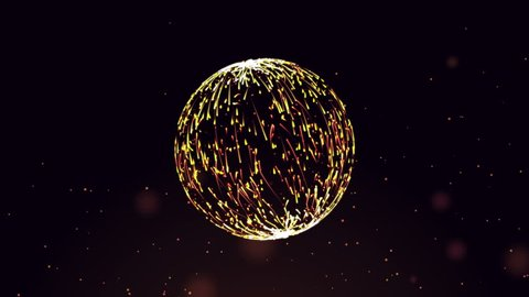 Glowing light golden sphere orb with flowing particle for your backgrounds,media,ads. Loop flying shooting particle in sphere orb shape on dark background.