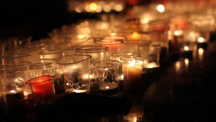 R.I.P. template. Many different candles at night outdoors.  | Shutterstock HD Video #1010765825