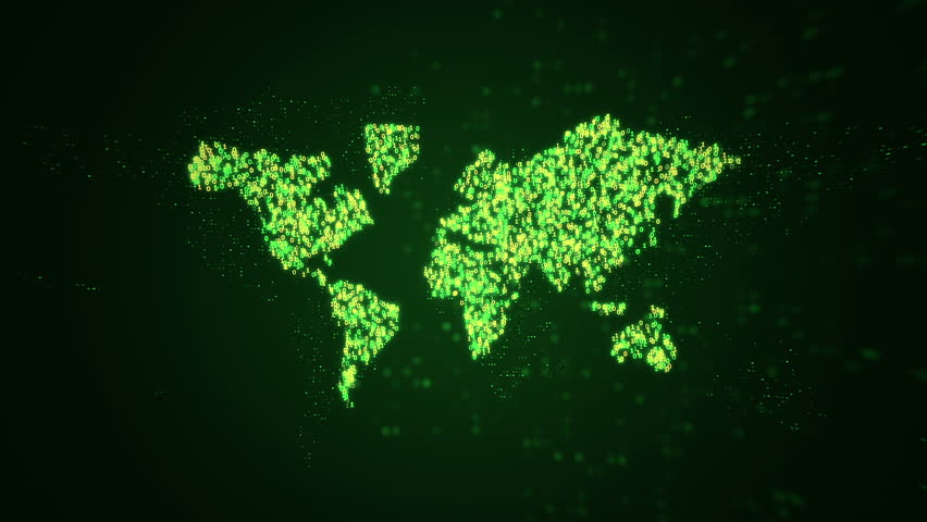 Animation of flying flickering particles form a earth map sign or globe symbol on dark background with earth map from dots. Animation of seamless loop.   Shutterstock HD Video #1010771225