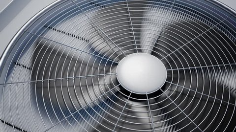 Looping animation of rotating HVAC cooling ventilation unit.