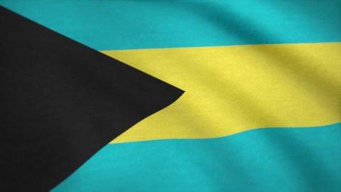 Bahamas flag waving in the wind. The Flag Of The Bahamas. National flag of Bahama grunge background