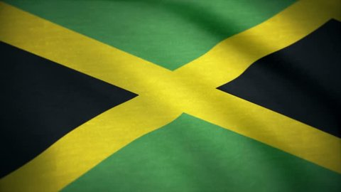 Flag of Jamaica. Beautiful 3d animation of Jamaica in loop mode. closeup of waving jamaica flag, cross stripes. Closeup cropped view of a fluttering national flag of Jamaica