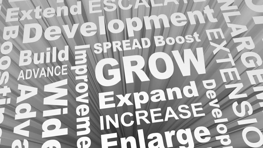 Grow Expand Increase Added More Word Collage 3d Render Animation