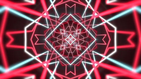 Psychedelic clip showing the formation of colorful white, red and blue shapes and lines on a black background for use as retro 1970 style backgrounds or general screen savers and wallpaper.