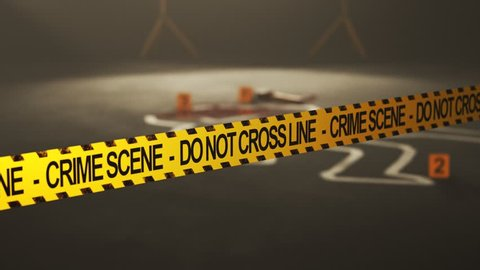 Body outline on the crime scene. Camera focus moving from the police tape to the outline.