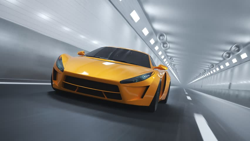 Sports car driving fast through the tunnel. Camera attached do the front of a car. Loopable animation.