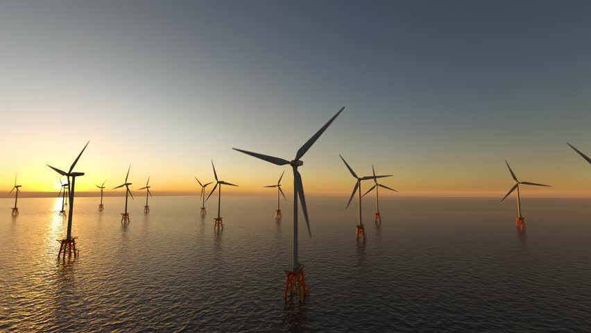 Offshore wind turbines at dusk.