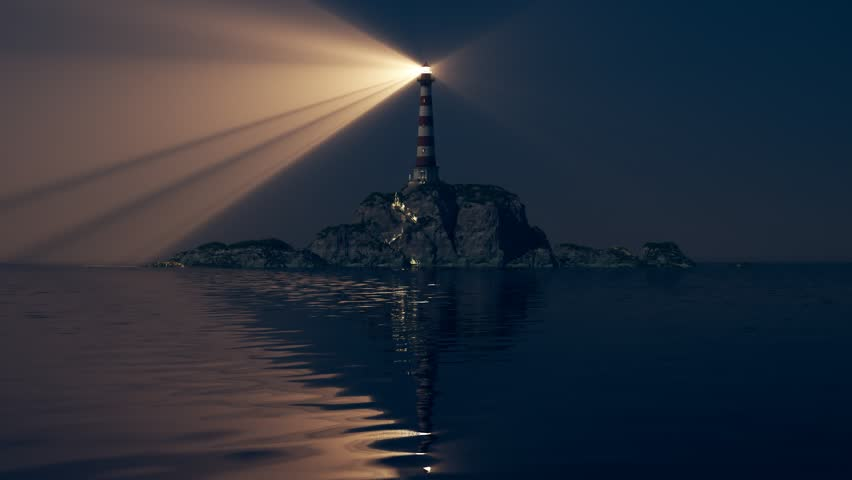 Beam of light from lighthouse rotating over the sea. Loopable animation.