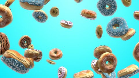 Different donuts on a blue background