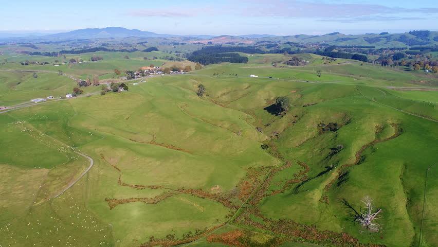 Aerial view of north island of New Zealand, picturesque lush green hills of Matamata region (Shire and Hobbiton - The Lord of the Rings and Hobbit location), sunset time, 4k UHD