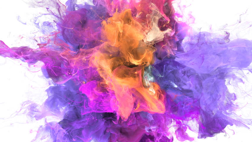 Color Burst - colorful purple magenta pink yellow orange smoke explosion fluid gas ink particles slow motion alpha matte isolated on white