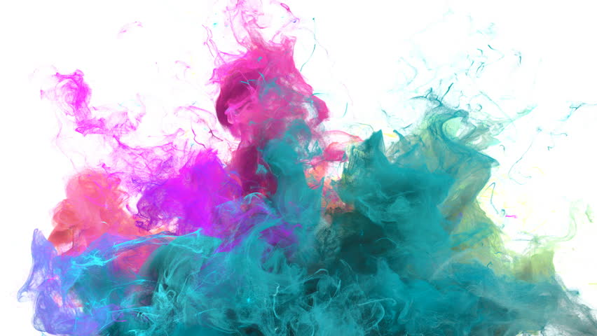 Color Burst - colorful cyan magenta pink green smoke explosion from below fluid gas ink particles slow motion alpha matte isolated on white | Shutterstock HD Video #1010872415
