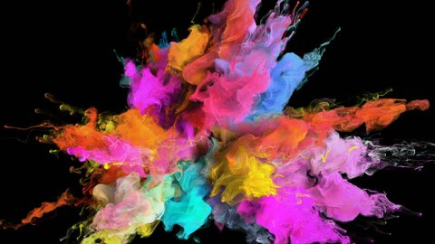 Color Burst - colorful pink magenta orange blue cyan yellow smoke explosion fluid gas ink particles slow motion alpha matte isolated on black