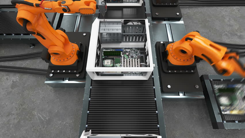 Band of Robotic Arms Assembling Computer Cases On Conveyor Belt. Modern Advanced Automated Process. Beautiful 3d Animation. Business, Industrial and Technology Concept. 4K UHD 3840x2160. | Shutterstock HD Video #1010882675