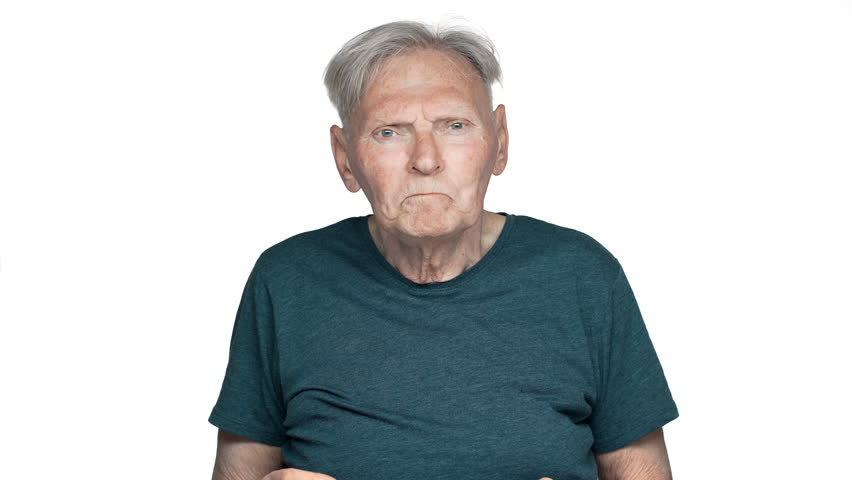 Portrait of perplexed mature man 80s having gray hair in casual wear gesturing nervously while screaming and asking question what, isolated over white background | Shutterstock HD Video #1010890625