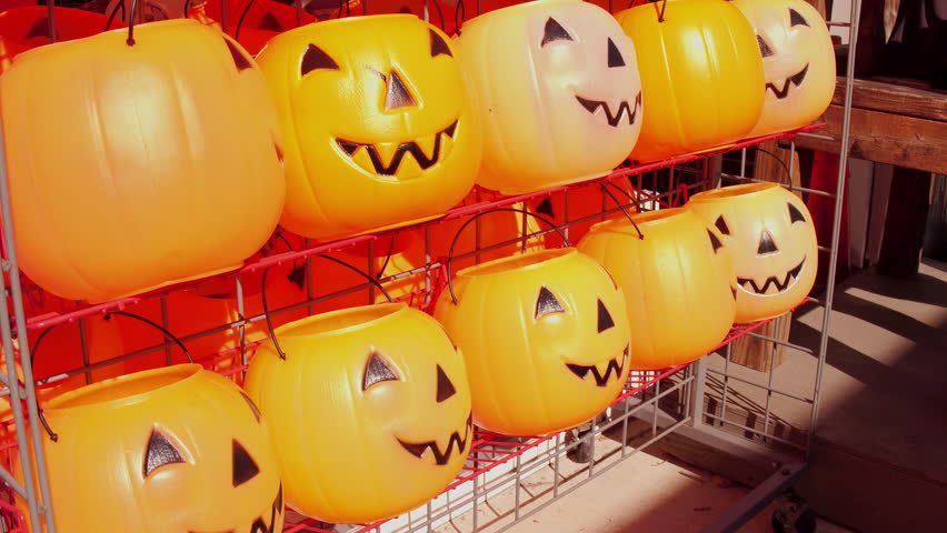Halloween candy buckets for sale at store. | Shutterstock HD Video #1010899295