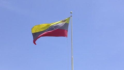 Flag of Venezuela and blue sky. 2018. 4k