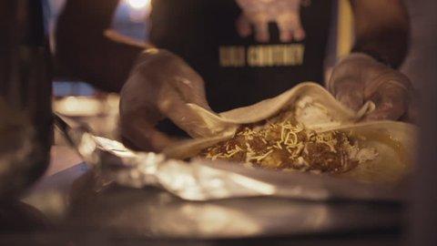 Street Food Vendor Making Burrito Wrap